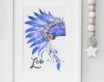 Boys Cheif Indian Headdress Personalised name print- feathers print, boys bedroom, boys nursery, boys playroom print