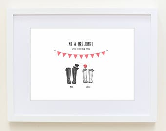 Personalised Wedding Wellington Boot Print- Personalised Welly Boot Family Print- Wedding gift- New Home Gift- Anniversary Gift