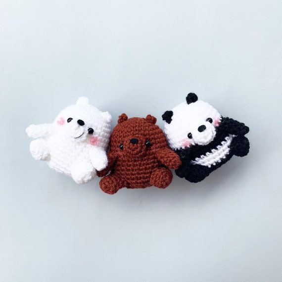 Complete Set of We Bare Bears crochet plush, Grizzly, Panda and ... | 570x570
