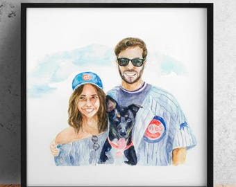 Custom Portrait / Couple watercolor / Couple portrait / Watercolor Portrait / Custom painting / Hand-Painted Portrait / Fathers day gift