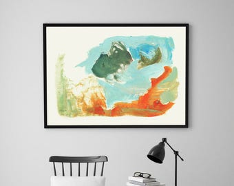 Large abstract print / INSTANT DOWNLOAD  / Abscract landscape / Abstract art / Watercolor diginal print / nursery print