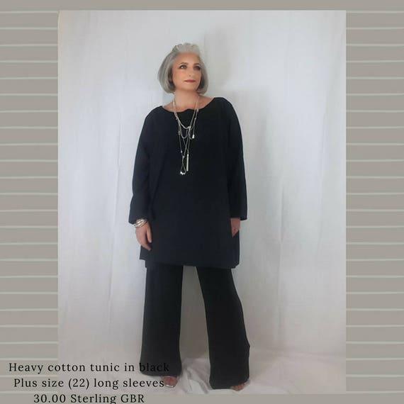 234b1c3d Affordable plus size Linen tunic black plus size UK 22 US 18 | Etsy