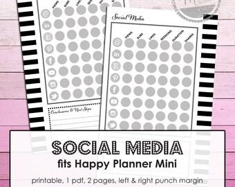 Create 365 Mini. Pinterest tracker. Facebook planner insert. Social Media planner. Instagram. Facebook. MAMBI Happy Planner Printable pdf