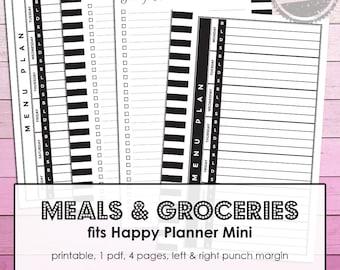 For Mambi Mini Happy Planner 365 create: pdf Meal Planner, Grocery List printable pages, weekly menu plan, meal planning, menu planner