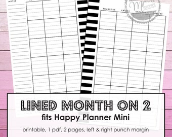 Mambi Mini Happy Planner Printable Month on two Pages inserts with Lined Days for Mini Happy Planner.
