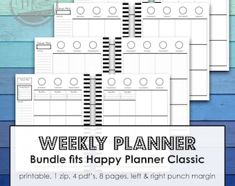 MAMBI Happy Planner Printable Vertical weekly Planner Insert for Happy Planner Classic