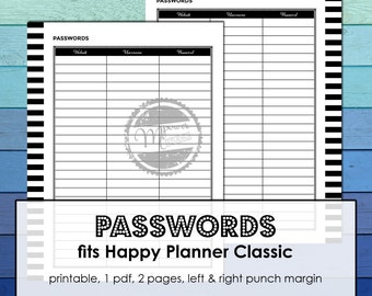 MAMBI Happy Planner Printable Password Tracker inserts for Happy Planner