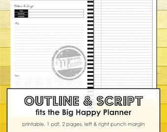Printable Workshops Planner Inserts that fits the Big Happy Planner. For Outlines and Scripts of Speeches, Presentations etc.