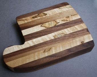 Ambrosia Maple and Walnut Wood Cutting Board / Serving Board / Cheese Board / bday gift / house warming / kitchen decor / hand made