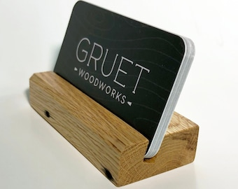 Card Holder - Reclaimed Oak - photo stand - Hand-Made in USA