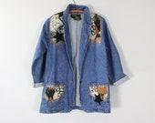 Vintage Long Jean Jacket Applique Denim Blazer 80 39 s THE FRONTIER COLLECTION Sport Coat S M