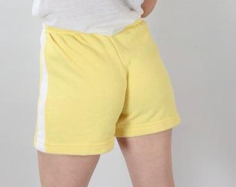 4ff88b36e5 Vintage Gym Shorts   Yellow Terry Cloth Hot Pants   80 s Drawstring Shorts  S M