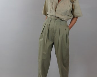 ca9e464950ab Vintage Khaki Pants / Pleated High Waist Trousers / 80's ESSENTIALS SPORTS  Casual Slacks / Sz 27