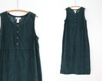 Vintage Corduroy Jumper / Sleeveless Green Shift / 90's CHEROKEE Minimalist Dress / Medium