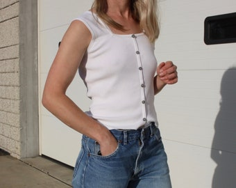 Vintage White Knit Blouse / Minimalist Sleeveless Shirt / 90's J.A.C. Square Neck Top S/M