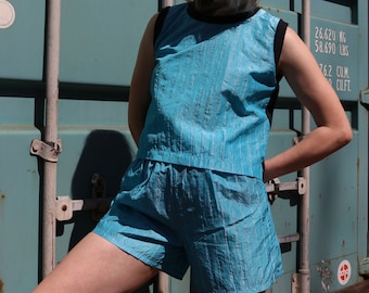 Vintage Two-Piece Romper / Sleeveless Athleisure Playsuit / 90's WHICH WAY Jumpsuit / Small