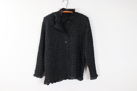 Vintage Black Button Up Shirt / Long Sleeve Popcor