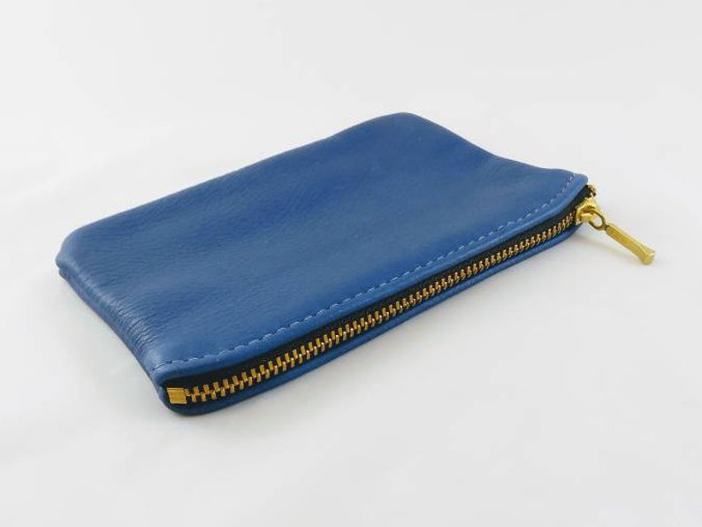 6 Leather Coin Pouch Cobalt Blue