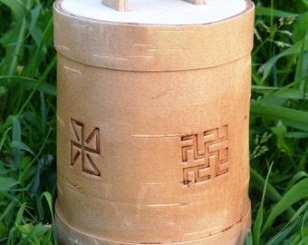 The box with symbols, handmade