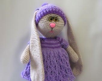 Knitted hare. Amigurumi hare. Hare Handmade. Little girl bunny. Bunny