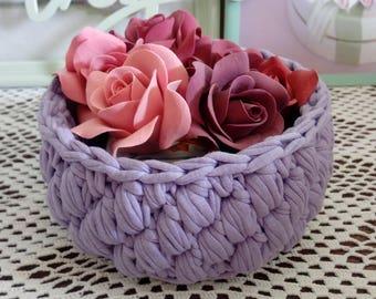Crochet basket Cotton crochet basket Hand crochet storage Handmade crochet bowl Knitted organizer Interior basket Eco home decor Chebby chic