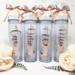 Personalized Water Bottle | Skinny Tumbler | Includes Straw & Bow! | Bridesmaid, Maid of Honor, Bridal Party Gift | Sorority Big/Little Gift