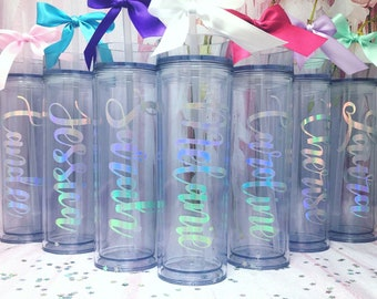 Personalized Tumbler Water Bottles   Includes Straw & Bow!   Bridesmaid, Maid of Honor, Bridal Party   Sorority Big/Little Gift   Festival