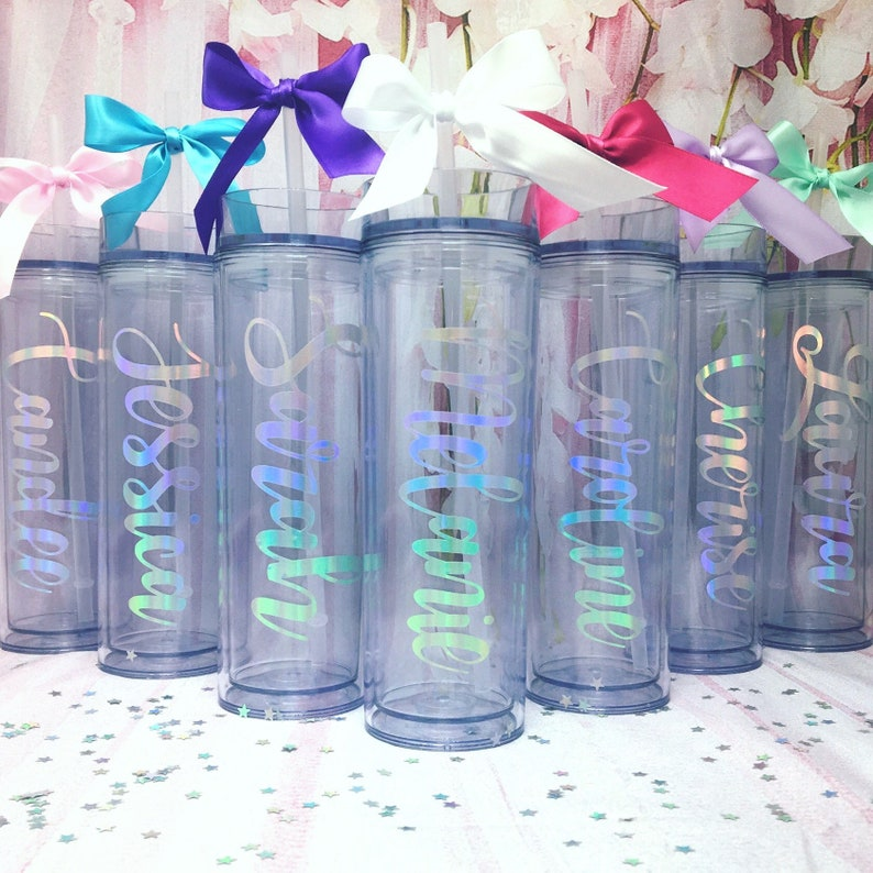 3e3c1dce65 Personalized Tumbler Water Bottles   Includes Straw & Bow!   Bridesmaid,  Maid of Honor, Bridal Party   Sorority Big/Little Gift   Festival