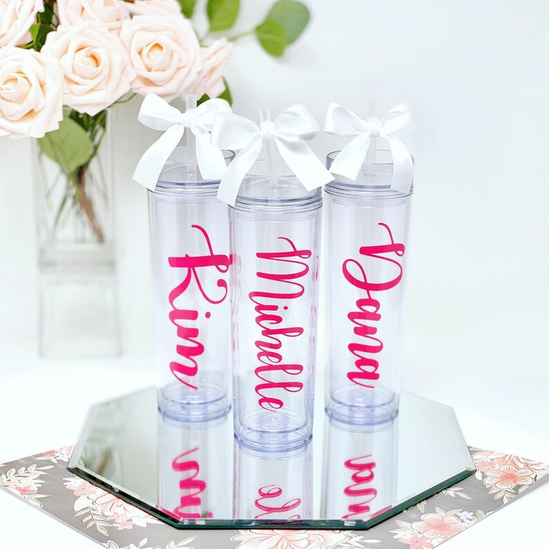 5d6e462fdc Personalized Water Bottle   Skinny Tumbler   Includes Straw & Bow!    Bridesmaid, Maid of Honor, Bridal Party Gift   Sorority Big/Little Gift