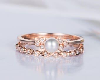Pearl Engagement Ring Set Etsy