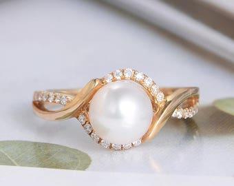 X Enhance Pearl Engagement Ring Yellow Gold Diamond Art Deco Bridal Antique Infinity Half Eternity Band Vintage Unique White Akoya Seawater