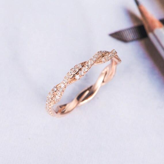 Rose Gold Wedding Band Women Twist Diamond Wedding Ring Etsy