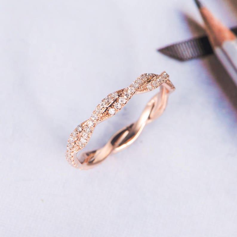Rose Gold Wedding Band.Rose Gold Wedding Band Women Twist Diamond Wedding Ring Infinity Full Eternity Dainty Stacking Bridal Delicate Bridal Milgrain Antique Ring