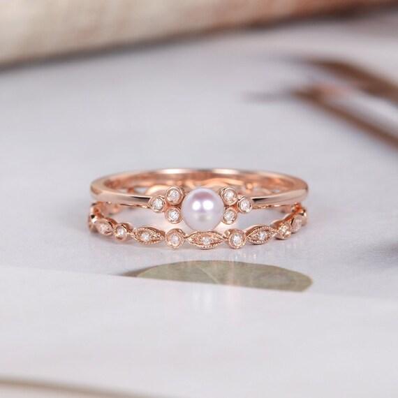 Pearl Engagement Ring Sets Rose Gold Bridal Set Cluster Etsy