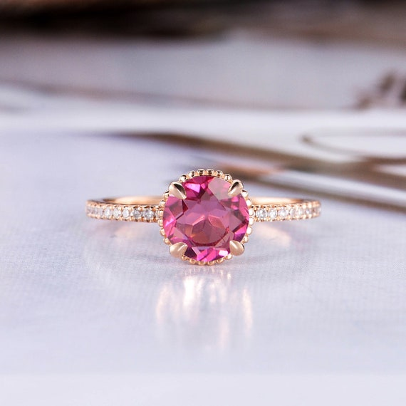 Red Tourmaline Engagement Ring Rose Gold Art Deco Floral Etsy