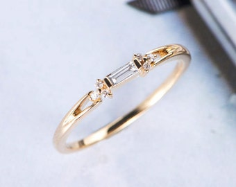 Baguette Cut Diamond Wedding Band Women Cluster Ring Antique Unique Promise Dainty Yellow Gold Stacking Anniversary Gift for Her