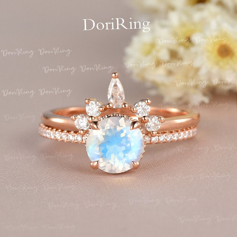 Moonstone Engagement Ring Set Rose Gold Crown Antique image 0