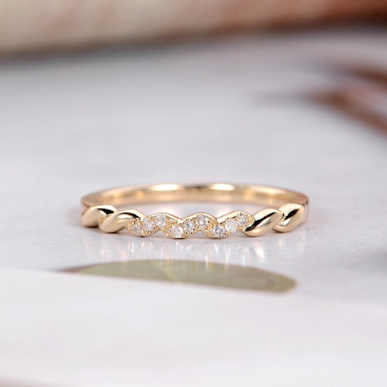 Unique Wedding Bands For Women.Unique Wedding Band Women Diamond Dainty Minimalist Yellow Gold Stacking Promise Engagement Bridal Thin Gift For Her