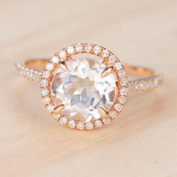 Round Cut Topaz Engagement Ring Rose Gold Antique Halo Half Etsy