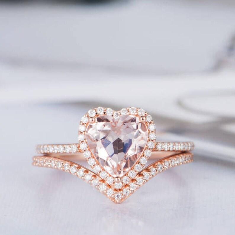 Heart Shaped Engagement Ring Set Morganire Wedding Ring Rose Etsy