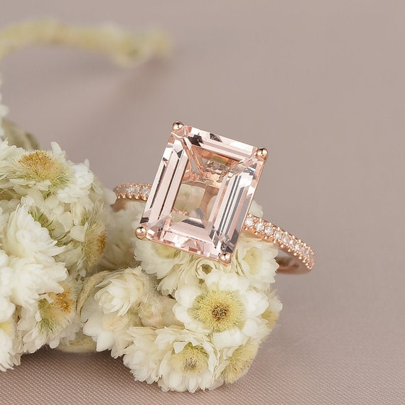 Emerald Cut Morganite Engagement Ring Rose Gold Diamond Half Etsy