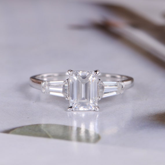 Emerald Cut Moissanite Engagement Ring White Gold Baguette Cut Etsy