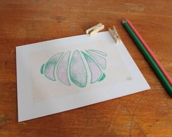 Graphic art, modern art, linocut print, organic drawing, gift, home decor, nature art, fresh colours.