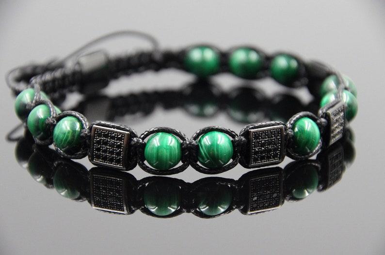 Shamballa Bracelet Malachite Bracelet Mens Bracelet Energy Bracelet Meditation Bracelet Protection Bracelet Balance bracelet Reiki Bracelet