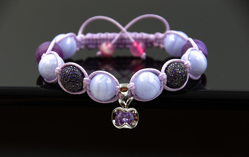 Teacher bracelet Apple bracelet Purple Shamballa bracelet Power stone bracelet Balance bracelet Intention bracelet Blue Lace Agate bracelet