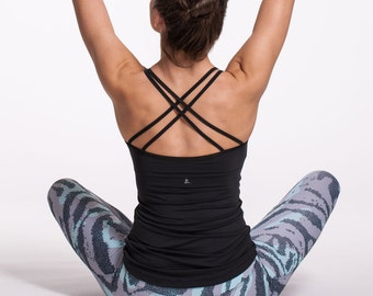 2a829608e2922c Yoga Top Built in Bra Strappy Sports Tank Black Camisole Minimalist Top  Ballet Tank Sexy Open Back Shirt Workout Bralette Summer Yoga Top