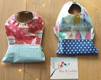 Catch-it-all-bibs, Handmade Custom Made to Order | Choose Fabric | girl, boy, unisex fabrics | Mia Moocha