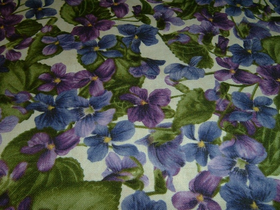 Stiefmütterchen Viola Digitaldruck türkis  Baumwolle Patchworkstoff   50x110 cm