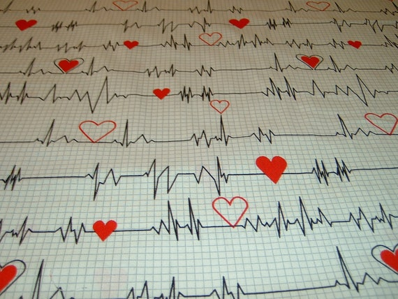 Calling all Nurses  EKG  Herzschlag  schwarz Patchworkstoff  Baumwolle  50x110cm