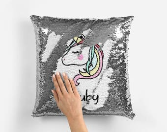 UNICORN Mermaid reversable Sequin magical changing Personalised Cushion 16 x 16 - unicorn 2 - gift name